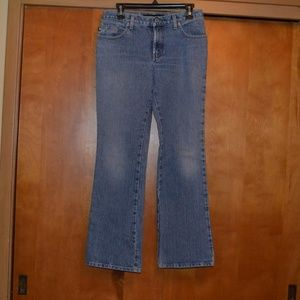 Express Low Rise Flare Light Wash Jeans 3/4R